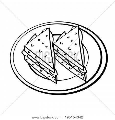 Hand drawn sketch of Sandwiches in dish isolated Black and White Cartoon Vector Illustration for Coloring Book - Line Drawn Vector