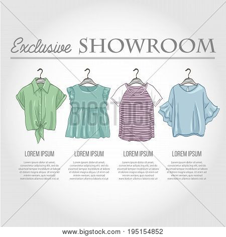 Color showroom set of woman casual clothes, shirts with frills, t-shirts on hangers for clothes