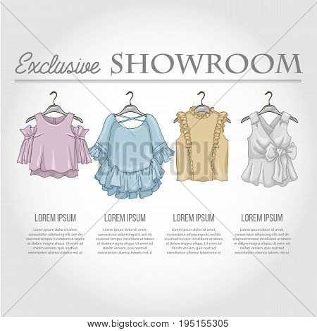 Color showroom set of woman casual clothes, blouses with frills on hangers for clothes