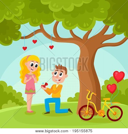 Loving couple, man proposing to pretty girl, standing on one knee, offering wedding ring in park, under big tree, cartoon, comic vector illustration. Loving couple, making proposal in the park