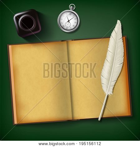 Notepad and feather with an inkwell and a clock on a wooden table. Vintage retro background. Blank old diary for writing. Stock vector illustration.