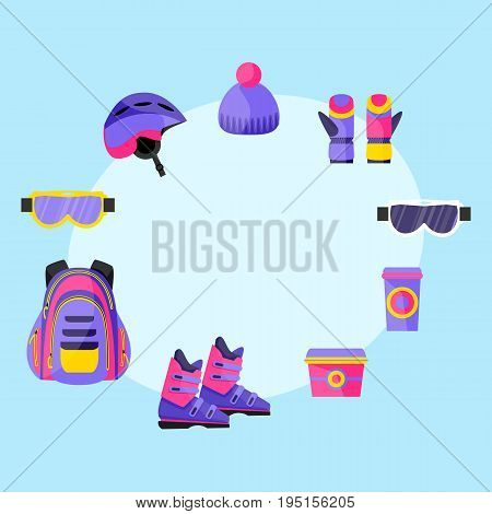Skiing, snowboarding accessories - helmet, backpack, mask, gloves, lunch box, coffee cup, flat vector illustration with space for text.