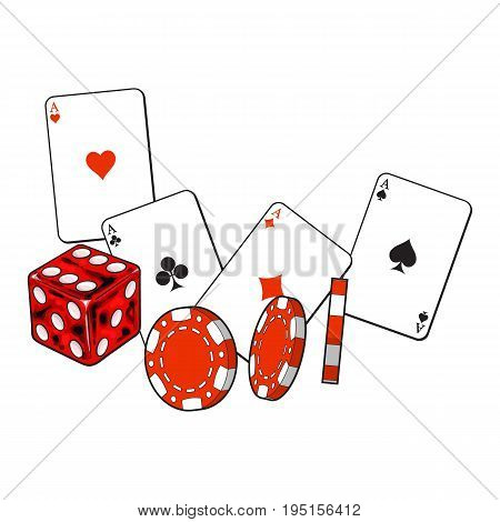 Set of heart, spade, clubs and diamond ace play cards, dice and gambling chips, sketch vector illustration isolated on white background. Dice, gambling chips, playing cards set, poker, casino symbols