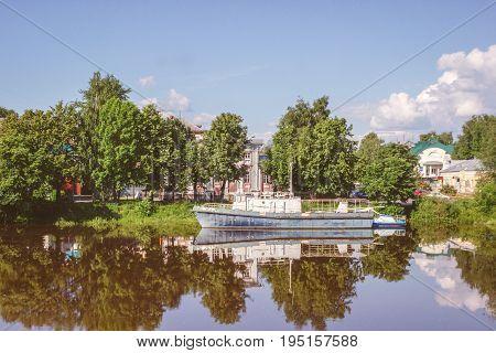 Vologda River in Vologda City at sunny summer day, Russia.