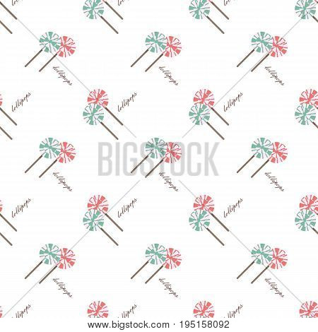 Vector Seamless Background Image Colorful Tea Time Sweet Dessert Lollypops Candy