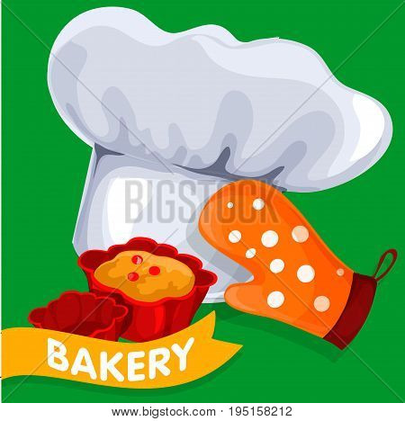 A modern white chef hat, Mitten and cupcakes on a green background for the design of a culinary theme