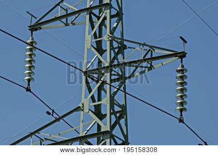 Upper part of electric power transmission line, Central Balkan mountain, Stara Planina, Bulgaria