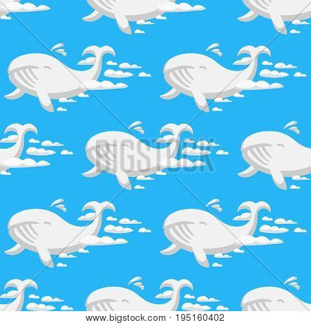 Animal clouds silhouette whale seamless pattern vector illustration. Abstract sky art cartoon ocean humpback environment natural ornament adorable bright fluffy mammal.