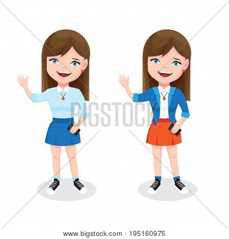 Teen girl with smartphone and welcome gesture. Cute girl character illustration