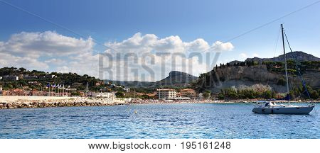 Panoramic view of the harbor and beach of Cassis in Southern France