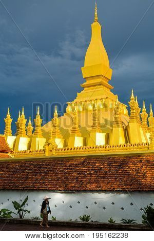Pha That Luang is a gold-covered large Buddhist stupa and be the most important national monument in Laos and a national symbol .Vientiane Laos.
