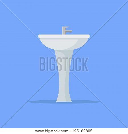 Ceramic washbasin isolated on blue background. Flat style icon. Vector illustration.