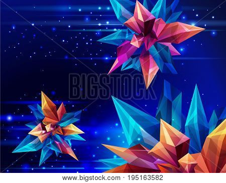 Image of a faceted crystal. Space technology. Glass asteroid in outer space. Abstract geometric figure on a dark blue. Futuristic banner. 3D style illustration. Vector illustration