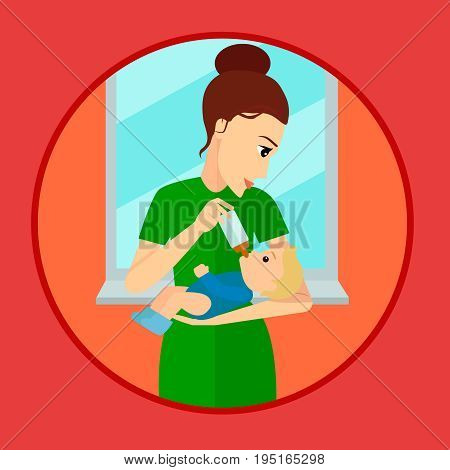 Mother holding and feeding baby with milk bottle. Flat style vector cartoon illustration