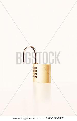 Closeup of combination padlock isolated on white background