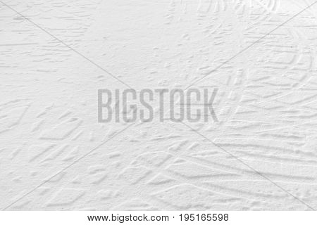 tyre tracks on the snow background texture,