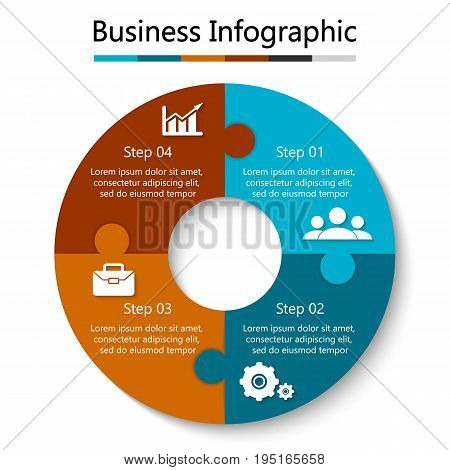 Vector circle puzzle for infographic. Template for cycling diagram, graph and round chart. Business concept with 4 element, parts or steps.