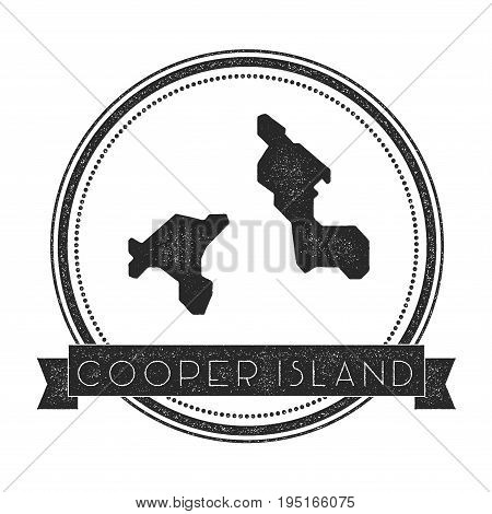 Cooper Island Map Stamp. Retro Distressed Insignia. Hipster Round Badge With Text Banner. Island Vec