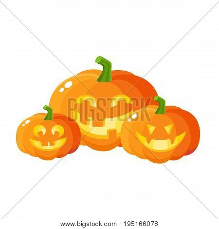 Three smiling, laughing, grinning Halloween pumpkin jack-o-lanterns, cartoon vector illustration isolated on white background. Set of pumpkin lanterns with carved out laughing faces, Halloween symbol poster