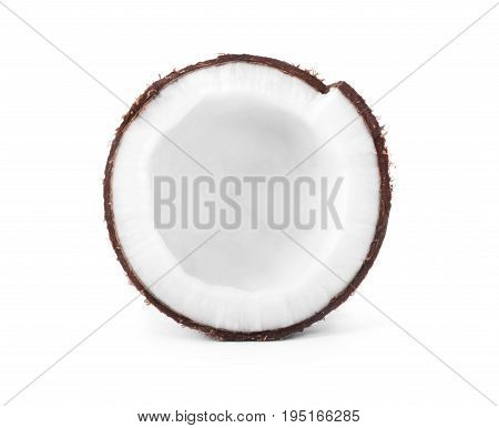 A  fresh coconut piece, isolated on a white background. A big ripe coconut. Exotic large coconut. Shaggy cocos. Fruit. Cocoanuts are the fruit of the palmtree.