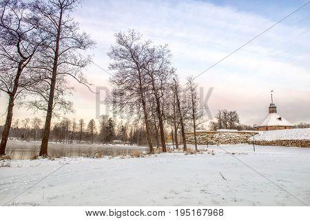 The landmark Korela fortress winter. Priozersk Russia