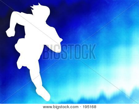 Man Running On Blue Background