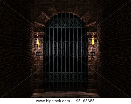 Medieval castle arch with iron castle gate and torches 3d illustration.