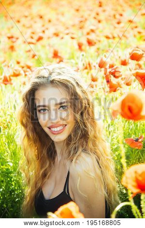 Poppy Seed And Happy Girl With Long Curly Hair