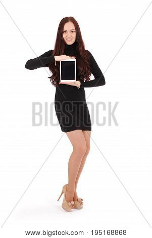 Girl keeps tablet pc isolated on white background