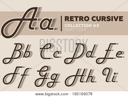 Retro Character Typeset. Vintage Layered Font with Striped Shadow. Coffee Color. Decorative Hand Drawn Cursive Font for Label Poster Banner. Old Movie Style.
