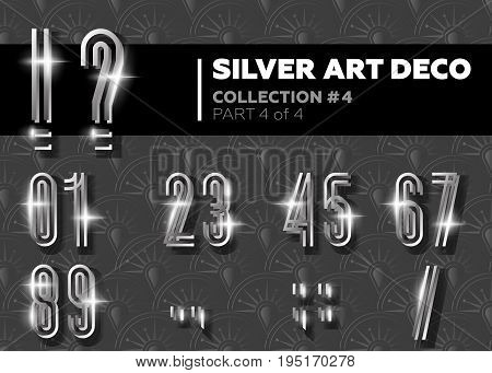 Vector Art Deco Font. Shining Silver Retro Alphabet. Gatsby Style. Metallic Vintage Numbers for Poster Placard Flyer Party Wedding Invitation Banner.