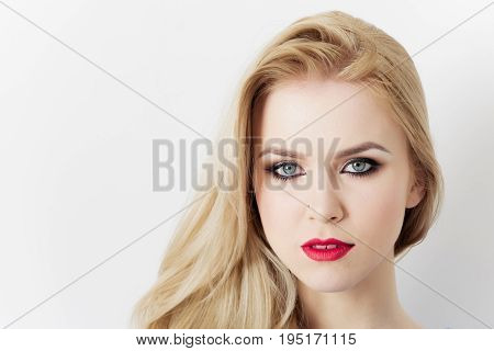 Girl With Red Lips On Pretty Face