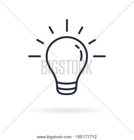 Pictograph of light bulb. Lamp line icon on white background. Vector illustration.