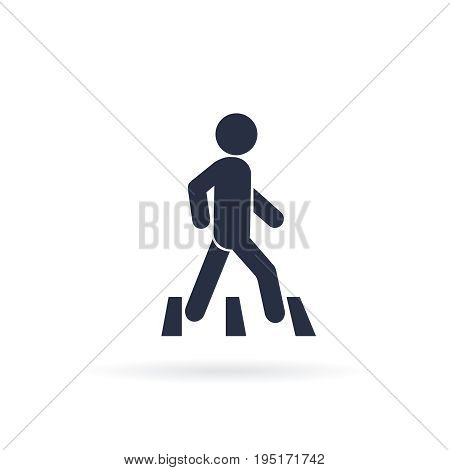 Pedestrian crossing sign, pedestrian crosswalk sign vector illustration