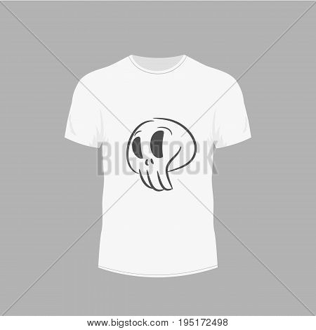 Men's white t-shirt with short sleeve in front views. Design for T-shirts. Skull image on clothes