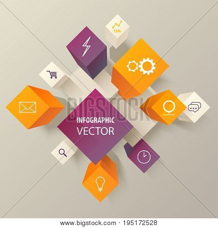 Boxes or cubes with icons for infographic template. Envelope and clock, linear diagram or chart, magnifying glass and cart, cog and lamp on 3d buttons or geometric blocks. Marketing and business theme