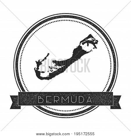 Bermuda Map Stamp. Retro Distressed Insignia. Hipster Round Badge With Text Banner. Island Vector Il