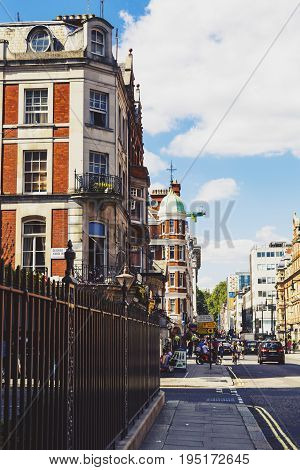 LONDON UNITED KINGDOM - August 6th 2016: Detail of beautiful buildings architecture in the streets of London city centre near Duke Street and Oxford Street