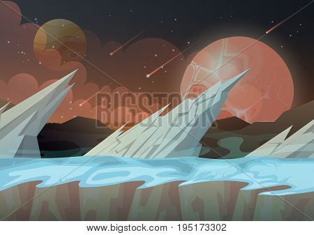 Ice rocks on another planet cartoon scenery of landscape with falling comets and stars at sky. Land relief or terrain panorama. Galaxy and cosmos, space and sci-fi, nature and universe theme