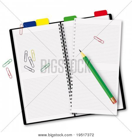 diary with a pencil