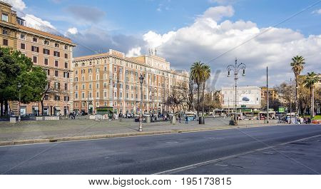 Rome Italy february 11 2017: the stile umbertino Piazza Risorgimento in the historic neighbourhood of Prati in Rome