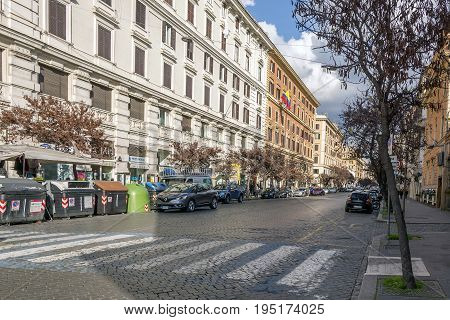 Rome Italy february 11 2017: The busy Via Cola di Rienzo one of the most famous streets in Rome is consistently ranked among the most important shopping streets in the city