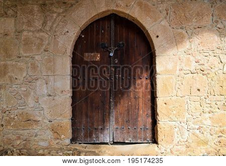 Closed old door in the castle May 2015 photo