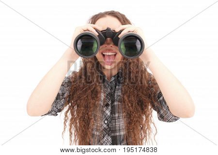Attractive smiling young girl with binoculars isolated on white