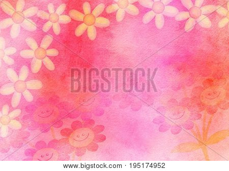 A hand made and artistic textured paper background design using blended watercolour effects and hand painted daisy flowers.