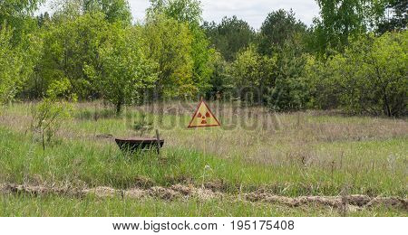 A sign warning of radiation and contamination in Chernobyl