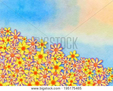 A watercolour sky background with floral border page decoration.