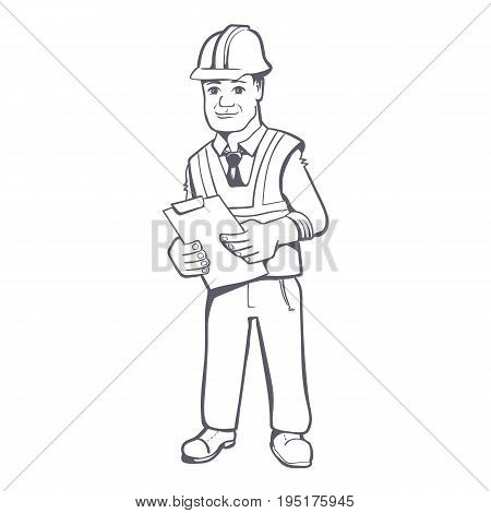Construction manager vector hand drawn illustration. Young male