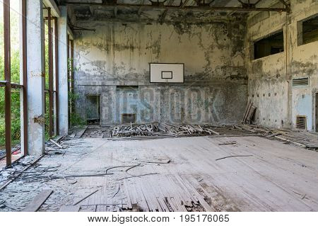 An abandoned gym in Chernobyl after the nuclear catastrophe