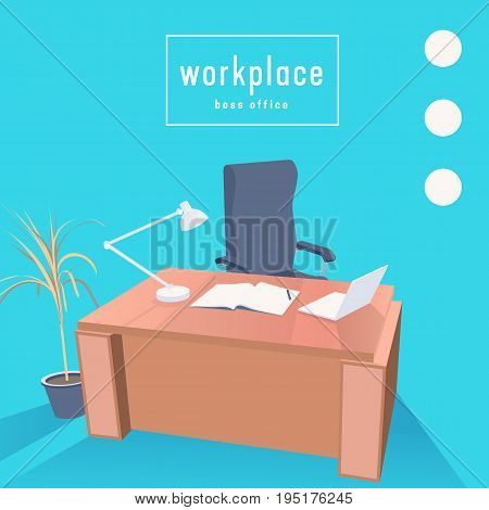 Boss office, chair and table. Workplace with notebook and laptop vector illustration.
